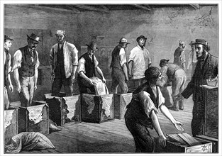 Refilling chests in a tea warehouse, 1874. Artist: Unknown