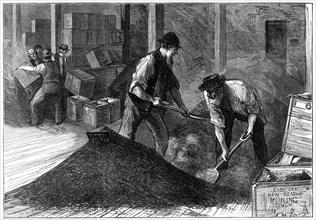 Bulking tea at a tea warehouse, 1874. Artist: Unknown