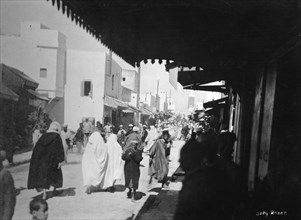 Busy street, Rabat, Morocco, c1920s-c1930s(?). Artist: Unknown
