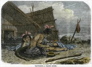 'Tattooing a Maori Chief', New Zealand, c1875. Artist: Unknown