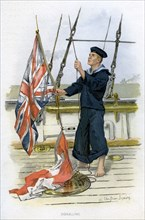 Royal Navy sailor signalling, c1890-c1893. Artist: William Christian Symons