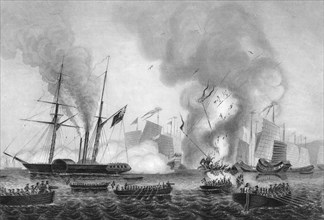 The destruction of the Chinese war junk in Anson's Bay, 7 January 1841 (c1857).Artist: George Greatbatch