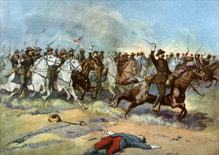 Cavalry charge by US regulars, Spanish-American War, 1898. Artist: Unknown