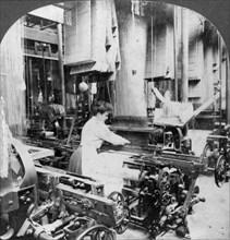 Weaving linen fabric, Montreal, Canada, early 20th century. Artist: Keystone View Company