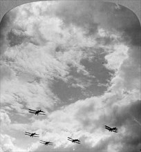 A battle squadron in fighting formation, World War I, c1914-c1918.  Artist: Realistic Travels Publishers