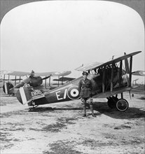 Sopwith Camel aircraft ready for a patrol over the German lines, World War I, c1917-c1918. Artist: Realistic Travels Publishers