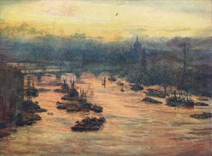 'London, from the Tower Bridge', 1905 (1906). Artist: Unknown