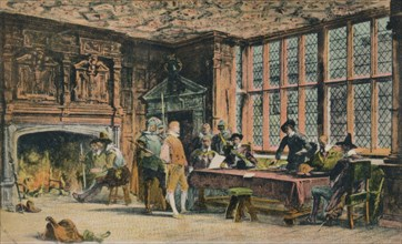 Oliver Cromwell trying a prisoner during the defence of Banbury. The Globe Room of Ye Olde Reine Dee Artist: Unknown