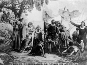 Landing of Colombus in America, (15th century), 1920s. Artist: Unknown