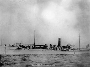 The Vesubio battleship, (1898), 1920s. Artist: Unknown.