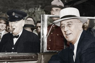 Franklin D Roosevelt and Winston Churchill meeting in Quebec, Canada, 1944. Artist: Unknown
