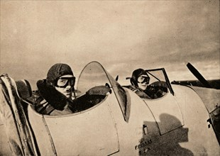 Starting on an instructional flight in a Miles Magister. The pupil is in the rear cockpit', 1940. Artist: Unknown