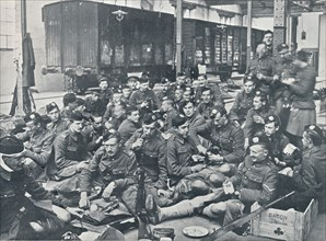 British troops having a meal in a French Railway Station, c1914. Artist: Unknown