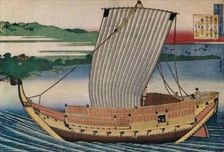 A Junk Gliding Across Suminoye Bay, c18th century, (1925). Artist: Hokusai