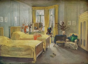 An Interior Scene: a bedroom designed by Mme. Gloria Silva at the Hotel Metropole, London, (1922). Artist: Charles Sims