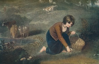 A Girl Gathering Mushrooms, 1800, (1917). Artist: Robert Mitchell Meadows