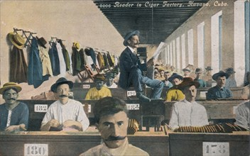 Reader in Cigar Factory, Havana, Cuba, c1910s. Artist: Unknown