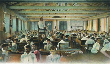 Lector reading to cigar rollers, Cigar Factory, Havana, Cuba, 1910s. Artist: Unknown