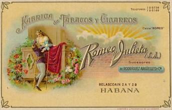 Advertisement for Romeo y Julieta cigars, c1900s. Artist: Unknown