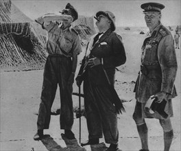 'Mr. Churchill with Sir A. Tedder and Gen. Auchinleck.', 1942. Artist: Unknown.