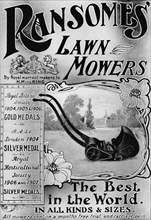 'Ransomes' Lawn Mowers advertisement', 1908. Artist: Unknown.