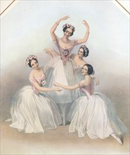 'The Celebrated Pas De Quatre: composed by Jules Perrot', c1850. Artist: TH Maguire.