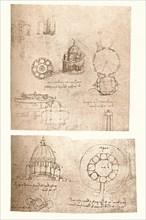 Two architectural drawings, c1472-c1519 (1883). Artist: Leonardo da Vinci.