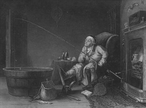 'The Enthusiast (?The Gouty Angler?)', 1850. Artist: HG Beckwith.