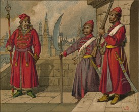 'Russian Strelitzi and Turkish Guards of the 17th Century - Officer, Privates', c19th century. Artist: Unknown.