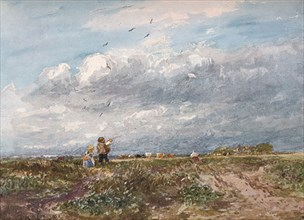 'Flying the Kite', 1852. Artist: David Cox the elder.
