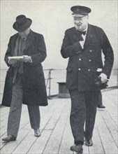 'Churchill, jubilant, aboard H.M.S. Prince of Wales with Lord Beaverbrook, about to say farewell t