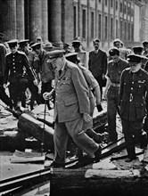 'Journey's end. Dunkirk to Berlin - an inevitable progress of retributive justice. Churchill inspect
