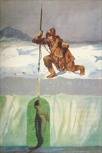 'Eskimo About To Spear A Seal Through Its Breathing-Hole', c1927,  (1928). Artist: Henry Evison.