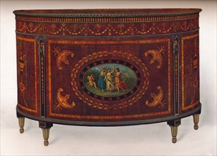 'Bow-Fronted Commode, with Metal Mouldings and Headings, veneered and inlaid with coloured woods', c Artist: Unknown.