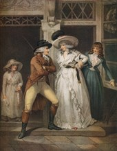 'The Tavern Door, Laetitia Deserted by her Seducer is Thrown on the Town', 1789. Artist: John Raphael Smith.