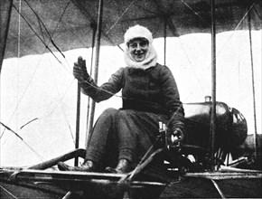 The second British woman pilot: Mrs. de Beauvoir Stocks in her Farman biplane, 1911 (1933). Artist: Flight Photo.
