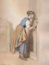 'The Keyhole', 1869, (1938). Artist: Pierre Edouard Frere.