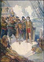 'These Cruel Men Meant To Turn Hudson Adrift On The Icy Waters', 1907, (c1920). Artist: Joseph Ratcliffe Skelton.