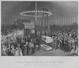 'Ceremony of Laying the First Stone of the New Royal Exchange', c1842. Artist: Henry Melville.