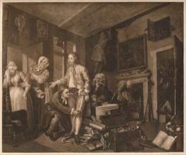 'A Rake's Progress'; scene I, 1735. Artist: William Hogarth.