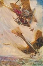 'A British Biplane Bringing Down a German Taube', c1916 (1928). Artist: Cyrus Cuneo.