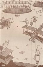 'An Aerial Cricket Match of the Future', c1918 (1919). Artist: W Heath Robinson.