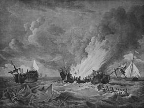 'The 'Quebec' and the 'Surveillante'', c1780. Artist: Richard Paton.
