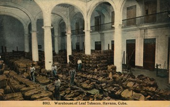 'Warehouse of Leaf Tobacco, Havana, Cuba', c1910. Artist: Unknown.