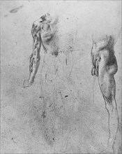 'Studies of a Nude Man Seen from the Back and from the Side', c1480 (1945). Artist: Leonardo da Vinci.