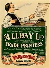 'Allday Ltd., Trade Printers advertisement', 1910. Artist: Unknown.