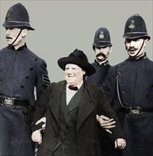 Mrs Flora Drummond, arrested in Hyde Park, London, 1914, (1935).  Artist: Unknown.