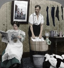 'The New Woman, Wash Day'. Artist: American Stereoscopic Company.