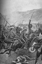 The Mexican Lancers Charged The Illinois Soldiers, 1902. Artist: Sidney E Paget.