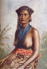 A woman of Fiji in native dress, 1902. Artist: Josiah Martin.